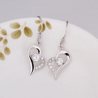 free shipping 925 sterling silver plated heart -shaped crystal silver drop earring