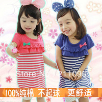 Children's clothing 2013 summer girl children baby short-sleeve stripe dress set cute bow mini dresses free shipping 5pcs/lot