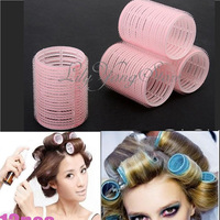 Hot Sale Free Shipping 12pcs Large Sponge Velcro Cling Hair Styling Roller Curler Making Tool Roll Salon DIY