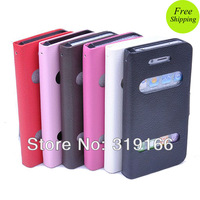 Hexagon Folio See Caller Name Easy Answer , Flip holder leather Case Cover skin For iPhone 5 5g,  Mix color 10pcs