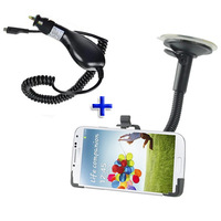 New Universal Windshield Window Suction Stand Car Vehicle Mount Holder + Car charger for Samsung Galaxy S4 S IV i9500
