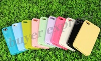 100PCS  For iphone4 4s case Simple phone cover mutil colors with dust plug DHL free shipping