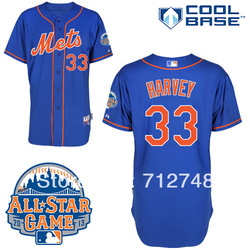 cheap New York Mets Authentic 33# Matt Harvey Alternate Home Cool Base Jersey w/2013 All-Star Patch baseball Jerseys(China (Mainland))