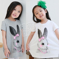Free shipping 2013 summer rabbit girls clothing baby long design short-sleeve T-shirt tx-0966  Wholesale and retail