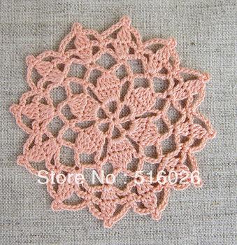 wholesale 9cm hand made Crochet cup mat, cotton Doily cup pad, flower coaster,lace coasters, applique, home decoration 20PCS/LOT