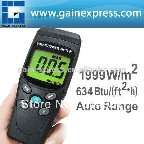 Digital Solar Power Meter BTU W/M2 Radiation Energy Cell Tester Auto Range Made in Taiwan(Hong Kong)