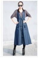 Stylish Sexy Deep V Neck Bowknot Embellished Jean Sundress Blue free shipping JY13030607