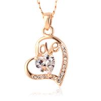 Ladies Fashion Girlfriend Zircon LOVE Heart Pendant For Valentine's Day Gifts