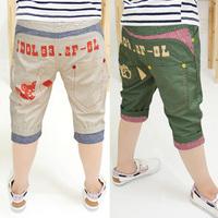 2013 summer children's clothing bear pocket knee-length woven capris pants 6d3882  (CC023)