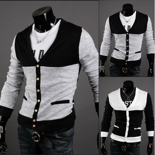 Free shipping 2013 new cheap mens slim t shirts v neck cardigans casual sprin sweater Y22(China (Mainland))