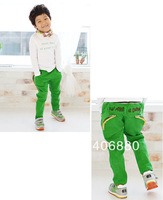 Best selling!!2013 Fashion childrens clothing baby&#39;s trousers Letters zipper bag color Slim casual long pants+Free shipping