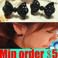 Vintage Black Butterfly Bowknot Stud Earrings Fashion Stud Earrings Free Shipping