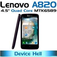 original lenovo A820 phone mtk6589 Quad Core Russian Hebrew Spanish Portuguese language free shipping in stock