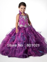 Loverable Halter Beaded Detail Organza Smart  Ballgown Flower Girl Dress Free Shipping