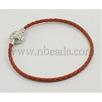 Closeout Imitation Leather Bracelet,  Mother's Day Jewelry,  Red,  about 85mm inner diameter,  Wire Cord: 2mm in diameter