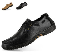 NEW Brand High Quality 100% Cow Genuine Leather Business Leisure Flats Lace up Shoes Mens Sneakers Big Size(37-47) Black Yellow