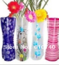 Foldable plastic flower vase Convenient water bag noelty plastic vase home decor,Free shipping(China (Mainland))