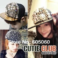 Free shipping Punk rivet decoration buckle hiphop Hedgehog Punk Hiphop Unisex Hat Gold Spikes Spiky Studded Cap