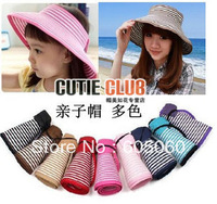 Free shipping Hot-selling summer hat anti-uv sun visor cap beach folding parent-child sunbonnet female child cap