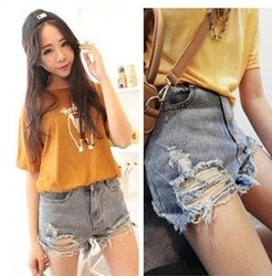 Women Clothing 2013 hot sale summer high quality short jeans with the holes short denim jeans low waist denim shorts female(China (Mainland))