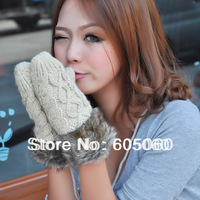 Free shipping Winter women's handmade twisted knitted fashion thickening thermal halter-neck yarn gloves