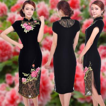 Vintage classic velvet fashion embroidered short sleeve length cheongsam quality formal dress