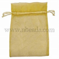 Organza Bags,  Rectangle,  Gold,  about 10cm wide,  15cm long