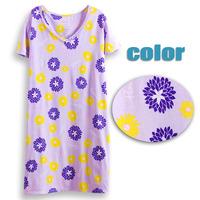 Popular flower women's 100% short-sleeve cotton nightgown plus size plus size women sleepwear nightgown  dress summer robe 2014