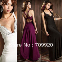 Women's Sexy Low Cut V-neck Strappy Backless Jewel Full-length Evening Gown Long Dress New