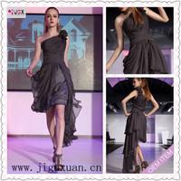 414-1lf Free Shipping 1pc/lot  Sexy Stock One Shoulder Chiffon Short Front Long Back Prom Ball Dress