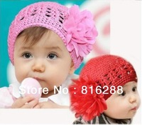 (2pcs/lot) Baby girl's caps with flower princess floral hats crochet beanie hats and caps pink red purple fashion headwear