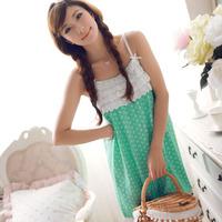 Summer nightgown women's sexy sleepwear knitted cotton spaghetti strap nightgown women's elegant nightgown lounge