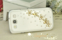 free shipping New Luxury Five flower Diamond Cover For Samsung I9300 S3 Crystal Bling Case For Galaxy SIII S 3