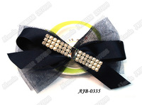 "12pcs/lot, 6.5"" large tulle hair bow hair clip with ribbons and shiny glass AJB-0335, free shipping (black navy pink green blue)"