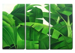 100% hand painted free shipping Tropical plants shrubs banana leaves home wall decoration art oil paintings on canvas(China (Mainland))
