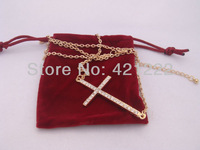 Wholesale HOT Girl Friend Women Gift Horizontal Sideways Cross w/ Crystal Necklace w/ gift bag