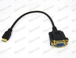 Free shipping Mini HDMI to VGA M/F Connector Cable Adapter Converter 30cm(China (Mainland))