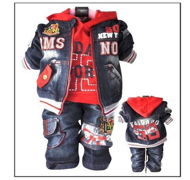 retail baby boys denim suit kids t-shirt + pants + coat 3pcs clothes set toddlers spring autumn wear casual jeans garment(China (Mainland))