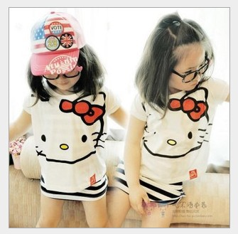 Summer Cute Cotton Girl Casual Clothing suit Striped Tanktop Dress +Hello Kitty T shirt Lovely Children Baby Cartoon Cloth set(China (Mainland))
