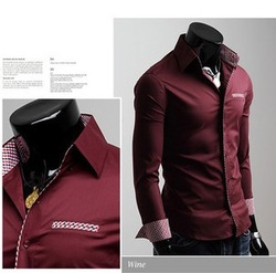 Free Shipping ! 2013 spring New Fashion Casual Grid long-sleeved mens shirts korean Leisure styles cotton shirt(China (Mainland))