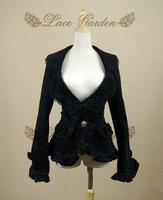 Vintage lace ruffle gothic laciness large lapel black flat flannelette suit plus size