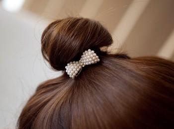 European Popular Nice Pearl Bow Hair Jewelry Headwear  Hair Band JK-0019