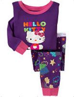 Baby pajamas boys girls Pyjamas suits pjs Cartoon hello kitty cotton children sleepwear,6sets/lot free shipping