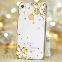 Free Shipping Bulk NEW New Luxury 3D daisy Bling Crystal Diamond Case For iPhone 4g 4s 5s 6 6 plus  Retail Package Accessory