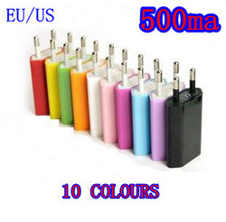 wholesale 1000pcs/lot flat EU AC home wall USB-based charger adapter for iphone for ipod mobile phone mp3/4/5 DHL free shipping(China (Mainland))