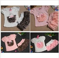 2013 Kids Summer Outfit Latest Style Basket Pattern T-shirt And Leopard Cake Skirt 2 Pieces Fashion Set