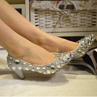 2014 Real Rushed Closed Toe Medium(b,m) Slip-on Women Pumps Sapatos Femininos Women Shoes Crystal Shoes Bridal Formal Bridesmaid