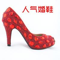 Crystal wedding shoes bridal shoes high-heeled red wedding shoes formal dress shoes handmade rhinestone wedding shoes