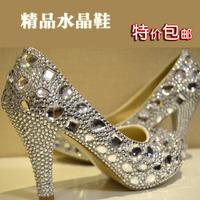 2014 Sale Promotion Satin Women Pumps Women Shoes Sapatos Femininos Wedding Shoes Crystal High-heeled Rhinestone Handmade Bridal