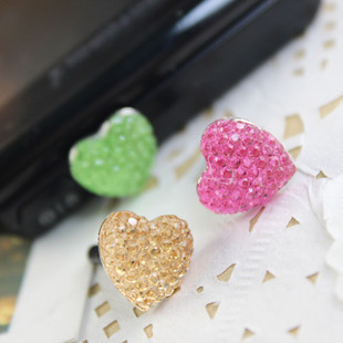 Crystal love heart dust plugs for apple for iphone 4 4s mobile phone dustproof plug headphones earphones hole